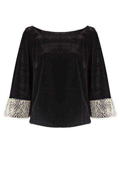 Black velvet top with pearls